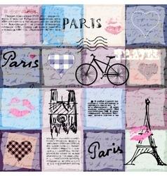 Retro scrapbook collage Paris vector image