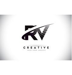 Rv r v letter logo design with swoosh and black vector