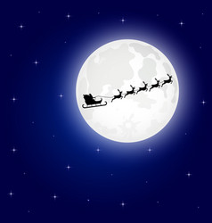 santa claus is flying in a sleigh on the northern vector image