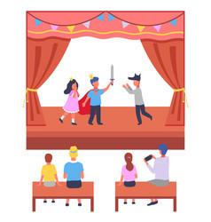 school children s theater performance parents vector image