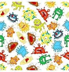 seamless pattern funny cartoon monsters vector image