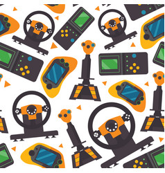 seamless pattern with gamepads pc controllers and vector image