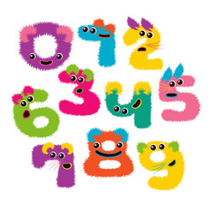set of cartoon numbers in flat style vector image