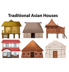 Set of traditional house vector