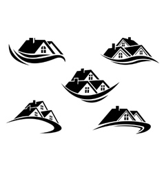 set silhouetted real estate icons vector image