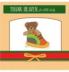 Shower card with teddy bear hidden in a shoe vector