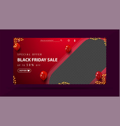 special offer black friday sale up to 50 off red vector image