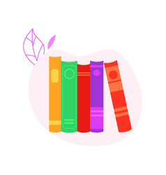 stack of standing closed books with colorful vector image