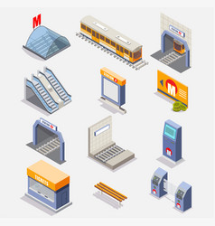 Subway or underground isometric icon set vector