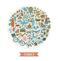 Summer heart design made of doodle season icons vector image