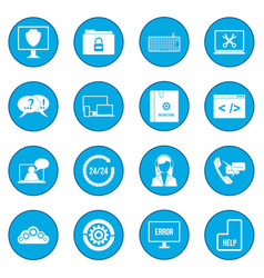 Support call center icon blue vector