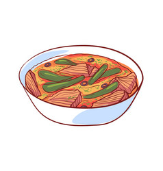 thai soup with meat isolated icon vector image