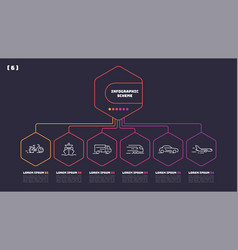 thin line infographic scheme with 6 options vector image