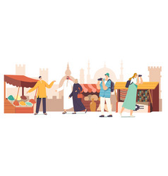 Tourists male and female characters with camera vector