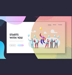 Unique landing page template man in colorful vector