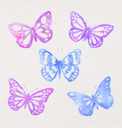 Watercolor butterfly sticker design element stamp vector