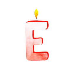 Watercolor happy birthday letter e candle vector