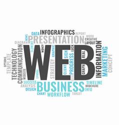 web informative word cloud concept typography vector image