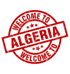 Welcome to algeria red stamp vector