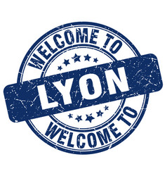 Welcome to lyon blue round vintage stamp vector