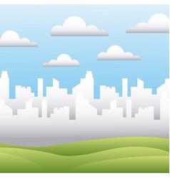 White silhouette city field sky landscape vector