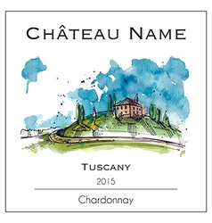 Wine lable with a watercolor tuscany vector