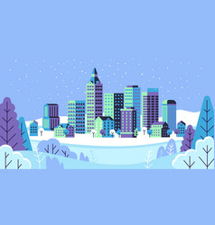 Winter simple landscape snowy city panorama with vector