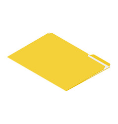 Yellow file folder isometric view isolated on vector