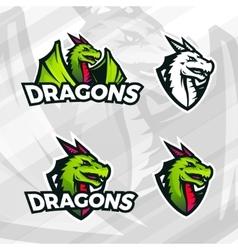 Dragon logo template Sport mascot design College vector image