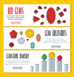 gems doodle three horizontal banners vector image vector image