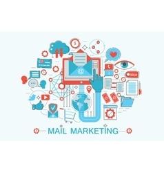 Modern Flat thin Line design Mail marketing vector image vector image