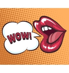 Mouth with speach bubble vector image vector image