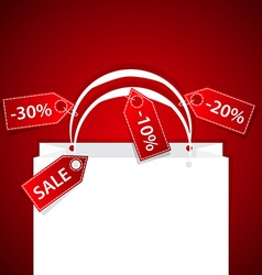 paper shopping bag with discount labels and copy vector image