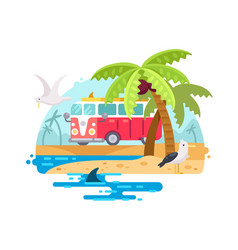 vintage bus with surfboard vector image