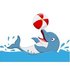happy dolphin cartoon playing ball vector image