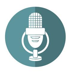 retro microphone voice icon shadow vector image