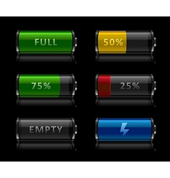 set of battery level icons vector image vector image