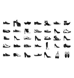 shoes icon set simple style vector image