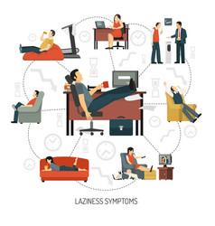 laziness symptoms infographics vector image