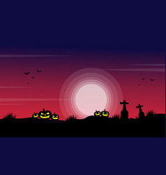 silhouette of pumpkin in the grave scenery for vector image vector image