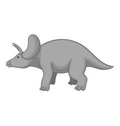 triceratops icon monochrome vector image