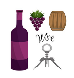 bottle of wine grape barrel and take out cork vector image vector image