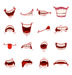 cartoon mouth with teeth vector image vector image