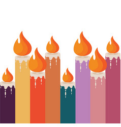 color candles with flame vector image