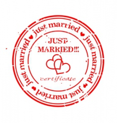 JUST MARRIED stamp vector image vector image