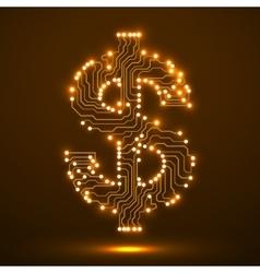 Neon symbol of dollar Circuit board vector image