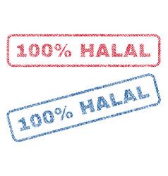 100 percent halal textile stamps vector