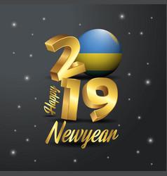 2019 happy new year rwanda flag typography vector