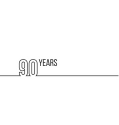 90 years anniversary or birthday linear outline vector image