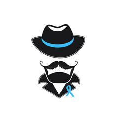 a man with a mustache in a hat and a blue ribbon vector image